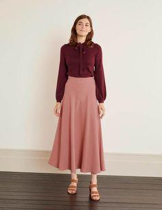 Pink Midi Skirt, Full Midi Skirt, Full Circle Skirts, Dress Skirt, Midi Skirts, Pencil Skirts, Jupe Swing, Swing Skirt, Jupe Midi Rose