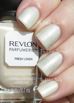 Revlon Parfumerie Fresh Linen White Nail Polish, Nail Polish Colors, Gel Polish, Gold Nails, My Nails, Sinful Colors, Nail Polish Collection, Revlon, Italian Leather