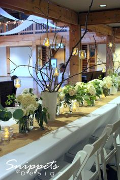 Rustic yet elegant center pieces with Mason jars