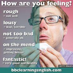 How are you feeling English Advanced English Vocabulary, Learn English Grammar, English Writing Skills, English Idioms, English Vocabulary Words, English Phrases, Learn English Words, English Learning Spoken, English Language Learning