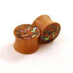Abalone Lotus Flower Inlay in Olivewood Plugs PAIR by EarEmporium, $50.00