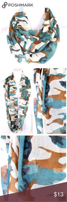 "B43 Green Brown Black Camouflage Infinity Scarf Fun camouflage print infinity scarf. 100% polyester.  Also available in other colors. 31"" long & 23"" wide. Please check my closet for many more items including designer clothing & jewelry. Boutique Accessories Scarves & Wraps"