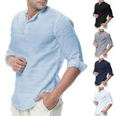 Men/'s Baggy Casual T Shirt Cotton Linen Shirts Long Sleeve Collarless Tops Tee
