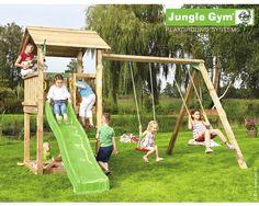 Good Spielturm Jungle Gym Casa u Swing Holz mit Sandkasten Doppelschaukel Rutsche gr n