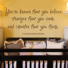 Braver Stronger Smarter Winnie the Pooh Quote Wall Decal. #DiaperscomNursery