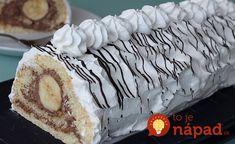 Perfektný nápad na dezert s tými najlepšími prísadami - sladučké banány, jemné cesto, šľahačka a čokoláda. Nič lepšie nepoznám! Organic Matter, Sushi, Food And Drink, Cooking Recipes, Pie, Sweets, Ethnic Recipes, Desserts, Cakes