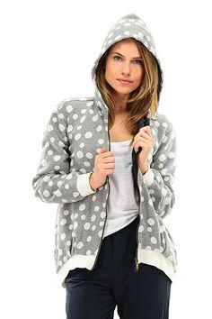 MANILA GRACE - Maglie - Abbigliamento - Felpa in cotone a pois con cappuccio e chiusura a zip. - MG999 - € 180.00