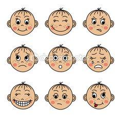 conjunto de caras de los ni?os con diferentes emociones — Vector stock © OlgaSuslO #47063345