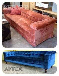 BEFORE: Vintage Skirted Chesterfield AFTER: Modernized with exposed custom wood legs and navy blue velvet upholstery.