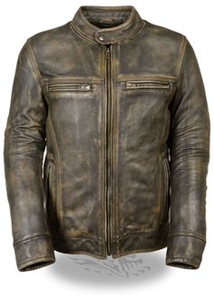 Men's distressed brown leather scooter motorcycle jacket with vents, made from premium cowhide leather. Triple stitch detailing throughout the jacket for a stylish distressed look. Biker Jackets available at Leather Bound Online.