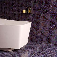 6 bathroom tile ideas Floor to ceiling purple mosaic bathroom tiles Tile Bathroom Floor And Shower