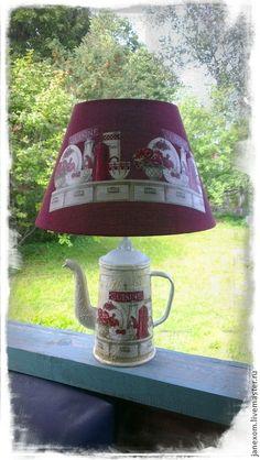 """Купить светильник """"Деревенский шик"""" - бордовый, кухонный интерьер, лампа, бордо, деревенский стиль, кантри"""