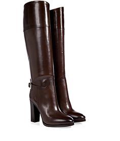 "Streamlined and exquisite in rich chocolate leather, Ralph Lauren Collection's ""Hazel"" boots add sleek polish to cool weather looks #Stylebop"