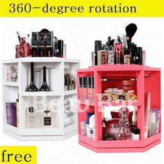Rotating Spinning Cosmetic Organizer lipstick holder  case make up case box