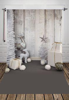 HUAYI Grey Wood Christmas Photography Photo Backdrop B1092