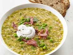 Slow-Cooker Split Pea Soup Recipe : Food Network Kitchen - Don't like the Turkey but could always use Ham Slow Cooker Soup, Slow Cooker Recipes, Crockpot Recipes, Soup Recipes, Cooking Recipes, Recipies, Healthy Recipes, Yummy Recipes, Healthy Soups