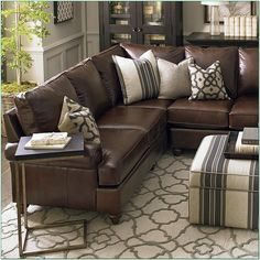 16 Ideas For Farmhouse Living Room Leather Couch Decorating Ideas Dark Leather Couches, Brown Leather Couch Living Room, Leather Couch Sectional, Living Room Decor Brown Couch, Large Sectional Sofa, Living Room Sectional, My Living Room, Tan Sofa, Leather Sectionals