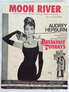 Breakfast at Tiffanys Moon River Sheet Music by Henry Mancini Audrey Hepburn | eBay