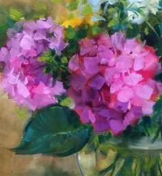 """Daily Paintworks - Original Fine Art © Nancy Medina : Daily+Paintworks+-+""""Slice+of+Pink+Hydrangeas""""+-+Original+Fine+Art+for+Sale+-+©+Nancy+Medina Hydrangea Painting, Acrylic Painting Flowers, Abstract Flowers, Watercolor Paintings, Abstract Paintings, Oil Paintings, Painting Art, Landscape Paintings, Flower Paintings"""