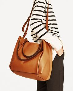 Image 1 of LEATHER BUCKET BAG from Zara