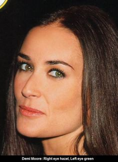 Demi Moore appears to have Central Heterochromia where there are the same two colors in each iris Black Hair Green Eyes Girl, Green Hair, Hazel Green Eyes, Hazel Eyes, Blue Eyes, Demi Moore Hair, Heterochromia Eyes, Celebrities Exposed, Different Colored Eyes