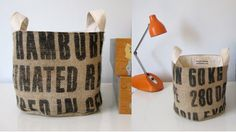 An idea for that coffee sack I have. Coffee Bean Sacks, Coffee Beans, Repurposed, Burlap, Arts And Crafts, Reusable Tote Bags, Diy Projects, Buckets, Centre