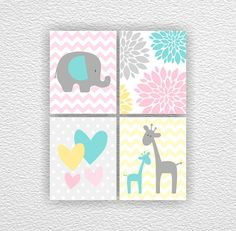 Nursery Printable, Elephant, Giraffe, Flowers, Heart, Girl Room Playroom Wall Art Set 4-8х10 digital download