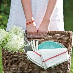 Picnic plan & recipes for fried chicken bites, fresh salsa & chips, fruit & cheese kabobs, strawberry rhubarb hand pies, & lime fizz sodas.