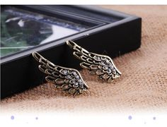 Crystal Accent Angel Wing Retro Style Antique Finish Stud Earrings
