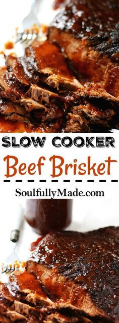 Slow Cooker Beef Brisket ~ is tender, juicy, and infused with tons of flavor and topped off with a homemade BBQ sauce!