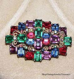 SUPERB Antique Art Deco Multi Color Czech Glass Pot Metal Pin Estate Lot #ArtDeco