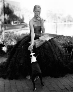 Ball gown, pizza, and your best furry friend! Ahh...