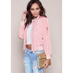 Pink Satin Bomber Jacket ($50) ❤ liked on Polyvore featuring outerwear, jackets, zipper jacket, zipped bomber jacket, zip jacket, bomber jacket and pink satin jacket