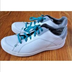 Ahnu Womens White Leather Tennis Shoes Sneakers 7