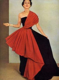 Grès (Germaine Krebs) 1950 Pottier, Evening Gown Fashion Photography
