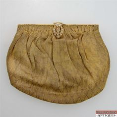 d0d80eda0 Vintage Gold Colored Shiny Cloth Evening Clutch Purse Rhinestone Clasp  Closure #WhitingDavis #Clutch