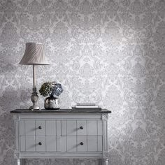 Montague Damask Wallpaper in Silver design by Graham & Brown