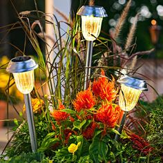 Use dowels to make long stakes for solar path lights. Then stick the lights in a planter.