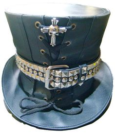 Steampunk madhatter Hand made  Leather Look Top Hat with metal strap and skull