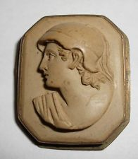 ANTIQUE GILT CARVED HIGH RELIEF LAVA CAMEO PIN BROOCH c1880 MYTHOLOGY ROMAN GOD