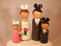Family of 4 Wedding Cake Toppers  Fully by IttyBittyWoodShoppe, $94.00
