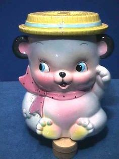 WAVING Teddy BEAR Vintage RUBENS Original COOKIE JAR Pottery JAPAN Ceramic # 575