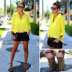 Cks Yellow Shirt, Pax Black Leather Shorts, Schutz Studded Leopard Wedge, Kafé Studded Leather Bracelet, Ray Ban Wayfarer Sunglasses