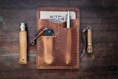 English Tan Horween Leather Notebook Caddy 2.0 ~ Field Notes Cover, EDC Notebook Holder. $82