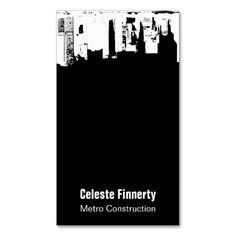 Upside Downtown Midnight Sky w/ QR Code Business Card Template