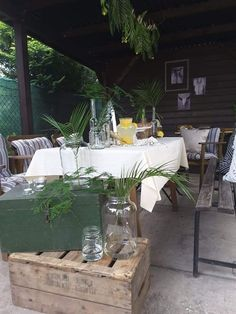 Summer Evening, Relax, Table Decorations, Green, Furniture, Palm, Cocktail, Home Decor, Decoration Home