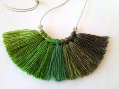 Emerald grass Green necklace, statement necklace, tassel necklace  $35.18