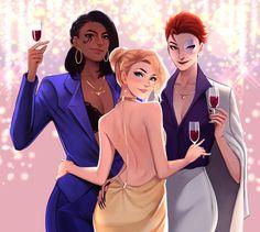 New Year Party by JojoPloy Overwatch Pharah, Overwatch Memes, Fanart Overwatch, Yuri, Fantasy Characters, Female Characters, Female Character Design, Character Art, New Years Party