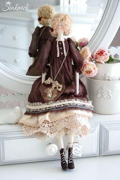 Купить Николь - тильда кукла, кукла ручной работы, подарок, винтажный стиль, шелковое платье
