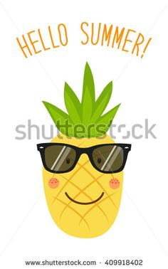 Cute card Hello summer as funny hand drawn cartoon character of pineapple and hand written text